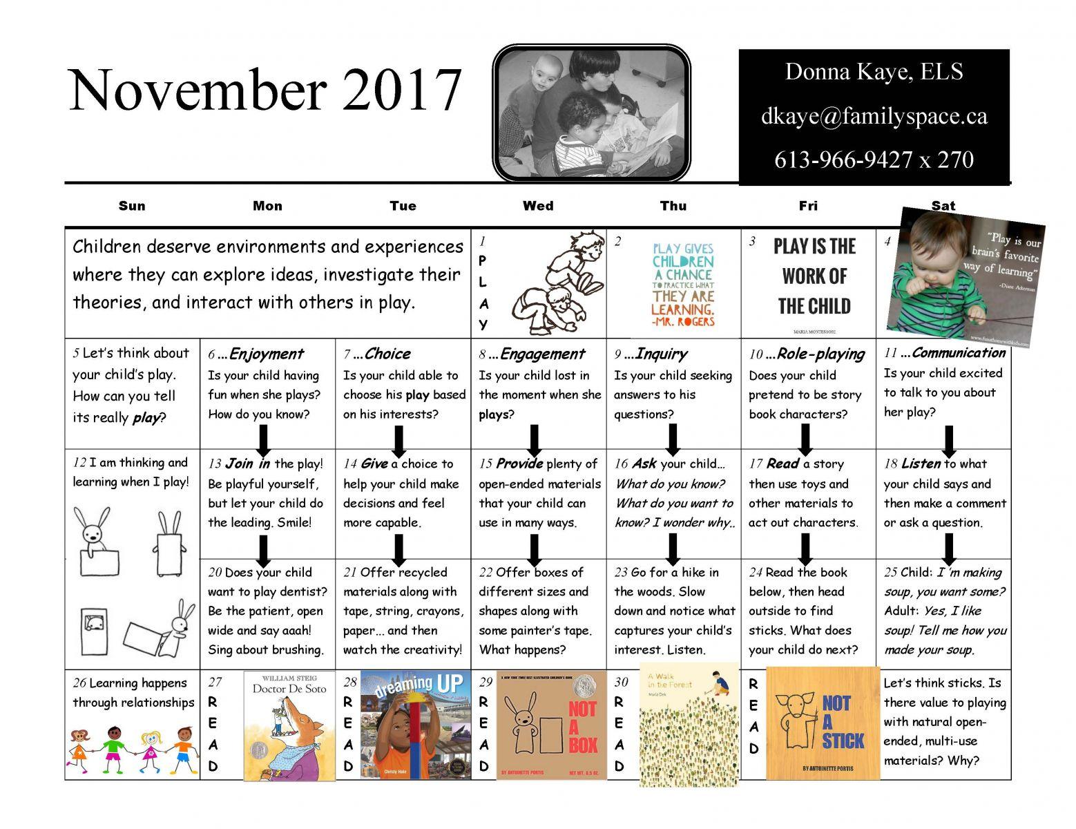 November Literacy Calendar