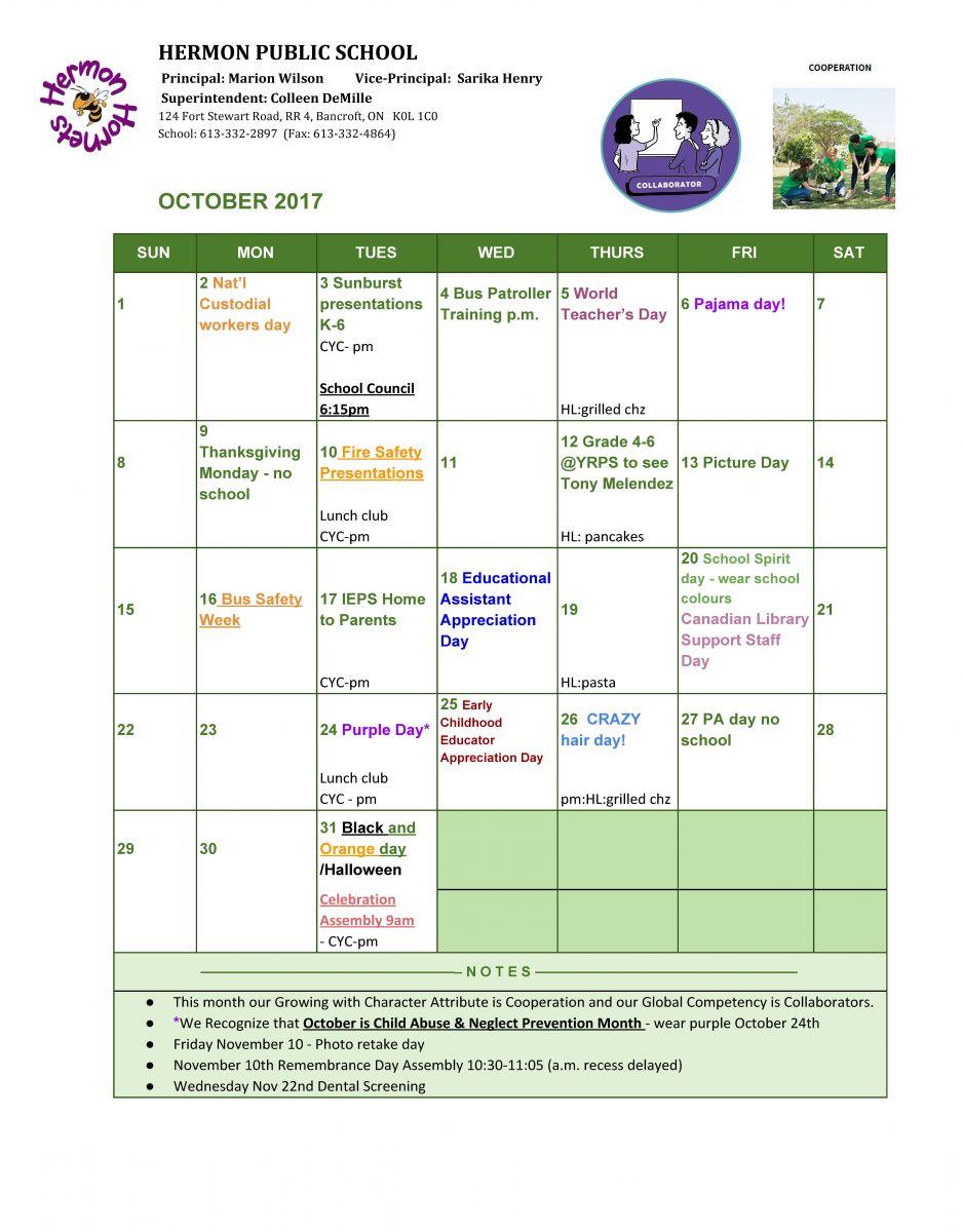 Hermon October 2017 Calendar
