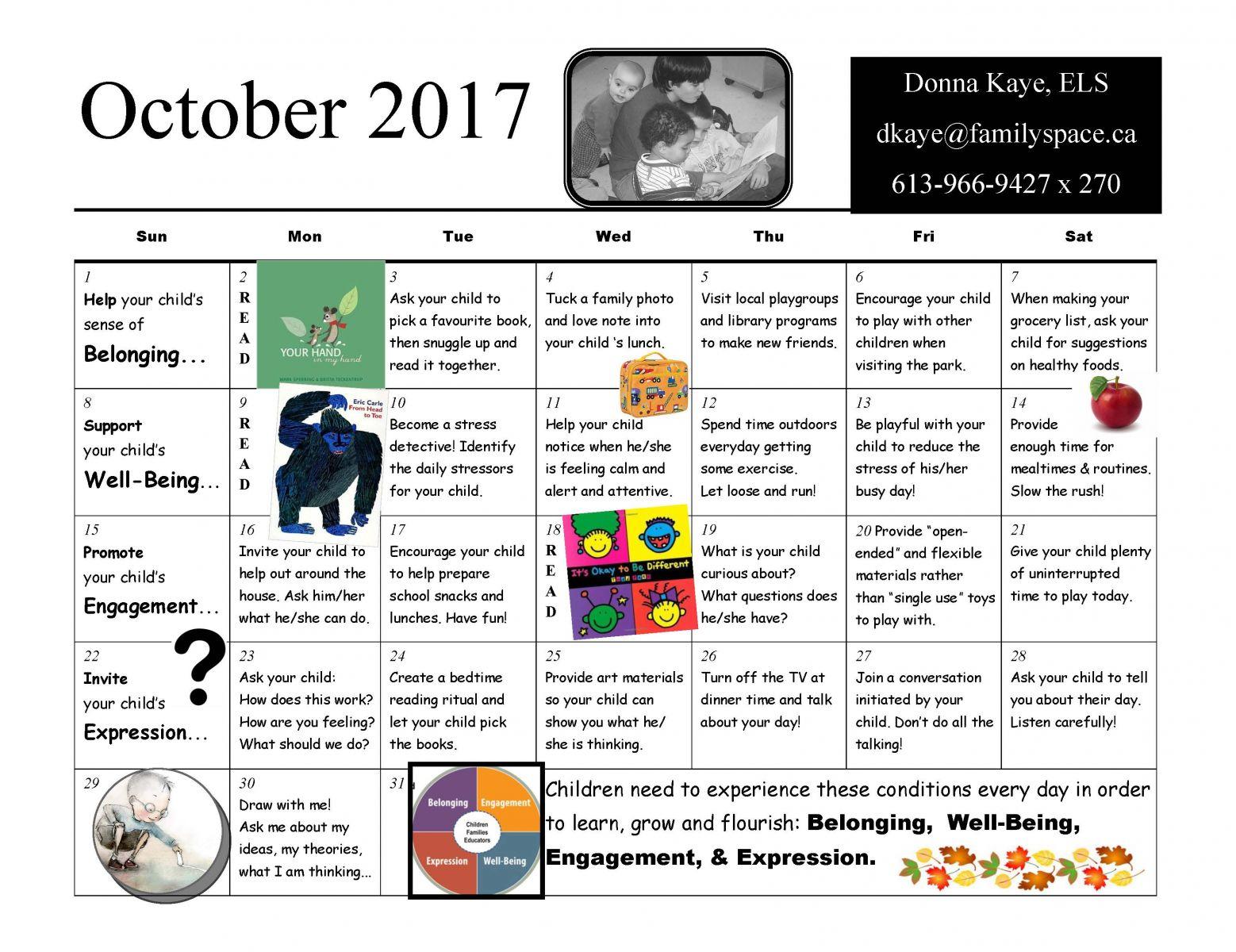 October Literacy Calendar
